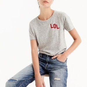 "J.Crew ""LOL"" T-Shirt Grey Top Women's S"